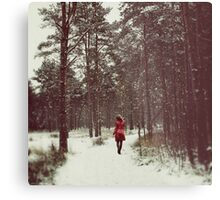 Her Winter of Red Metal Print