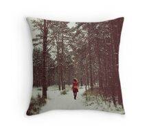 Her Winter of Red Throw Pillow