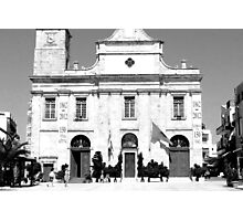 Black and White Cathedral Church in Chania, Crete, Greece Photographic Print