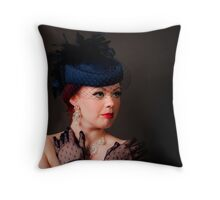 Blue Hat Lace Gloves Throw Pillow