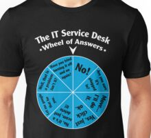 The IT Service Desk Wheel of Answers. Unisex T-Shirt