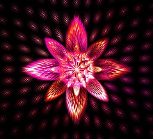 Neon Pink Purple Black Flowering Firework Star Burst Abstract Fractal Art by CoolCreations
