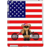 Cute Patriotic Teddy Bear Biker iPad Case/Skin