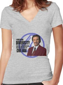 Anchorman - Ron Women's Fitted V-Neck T-Shirt