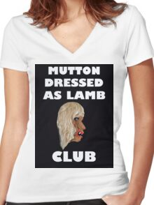 MUTTON DRESSED AS LAMB CLUB Women's Fitted V-Neck T-Shirt