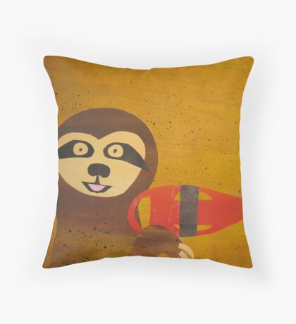 Sloth Hasselhoff - made with recycled math books Throw Pillow