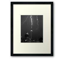 Lightning Striking the CN Tower Framed Print