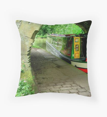 The old and the new..... Bridge and Narrowboat.......! Throw Pillow