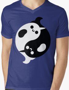 Yin Yang Narwhals Mens V-Neck T-Shirt