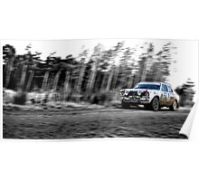 Opel Rally car (splash of colour) Poster