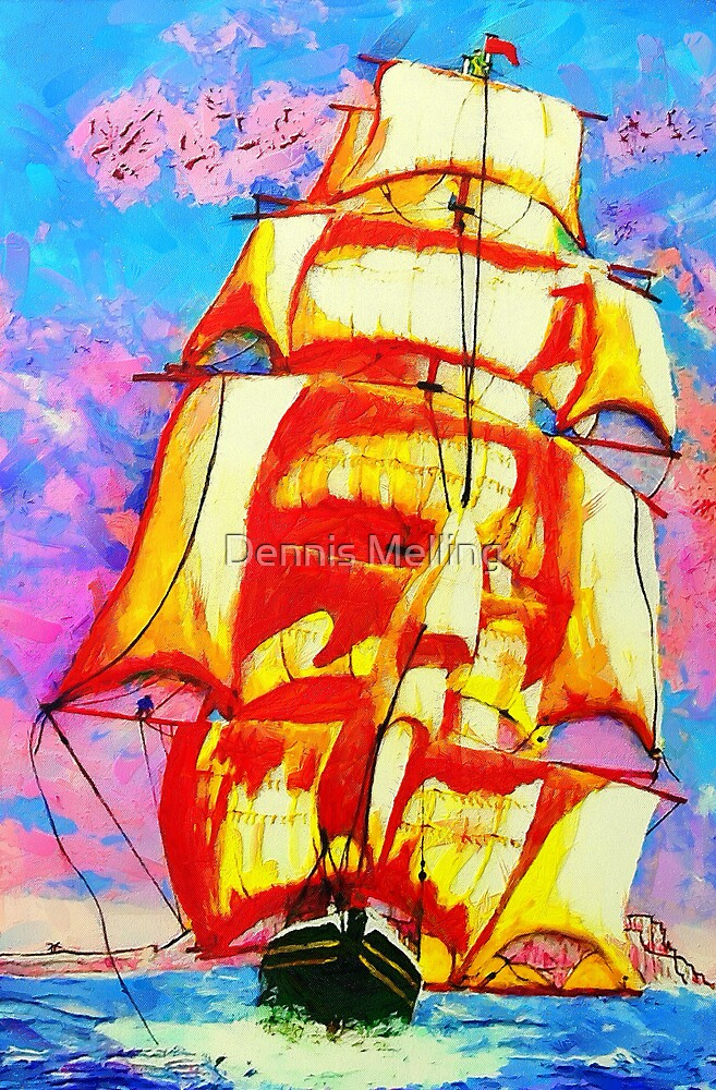 A digital painting of The Clipper Ship Golden State Leaving Gibraltar by Dennis Melling