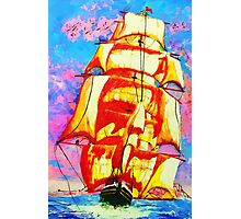 A digital painting of The Clipper Ship Golden State Leaving Gibraltar Photographic Print