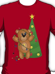 Cute Teddy Bear Tangled in Christmas Tree Lights T-Shirt