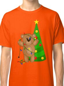 Cute Teddy Bear Tangled in Christmas Tree Lights Classic T-Shirt