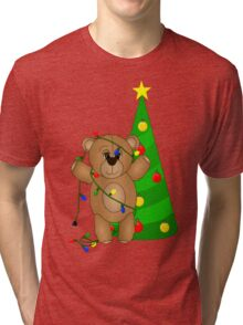 Cute Teddy Bear Tangled in Christmas Tree Lights Tri-blend T-Shirt