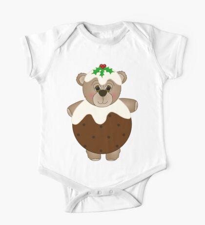 Cute Teddy Bear Dressed as a Christmas Pudding One Piece - Short Sleeve
