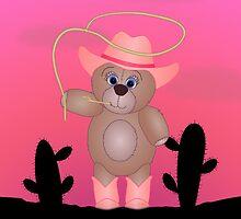 Cute Cartoon Teddy Bear Cowgirl by ArtformDesigns