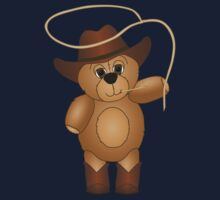 Cute Cartoon Teddy Bear Cowboy Kids Tee
