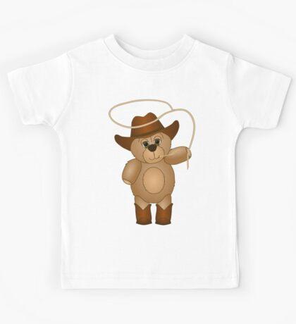 Cute Cartoon Teddy Bear Cowboy Kids Tee