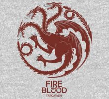 Targaryen Fire and Blood Red Dragon Kids Clothes