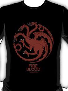 Targaryen Fire and Blood Red Dragon T-Shirt
