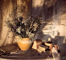 Evening still Life c with wildflowers by Sviatlana Kandybovich