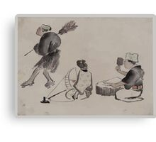 Man with a broom wearing geta woman with spinning wheel man with a mallet 001 Canvas Print