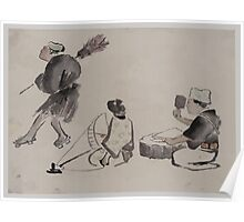 Man with a broom wearing geta woman with spinning wheel man with a mallet 001 Poster