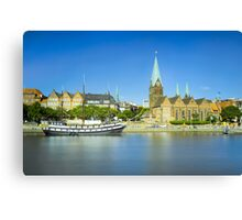 Riverside view of Bremen, Germany Canvas Print