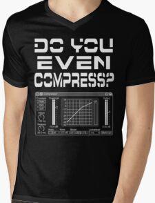 Do you even compress? (White Text) Mens V-Neck T-Shirt