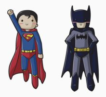 Chibi Superman and Batman by myfluffy