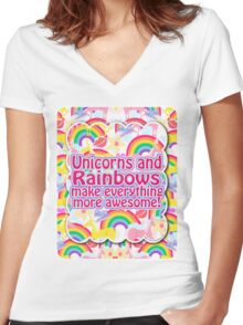 Rainbows and Unicorns Slogan Women's Fitted V-Neck T-Shirt