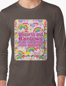Rainbows and Unicorns Slogan Long Sleeve T-Shirt