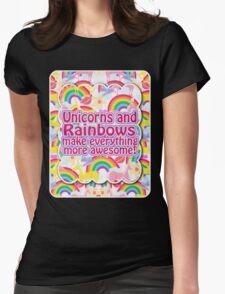 Rainbows and Unicorns Slogan Womens Fitted T-Shirt