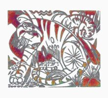 Tiger in Red After Franz Marc One Piece - Short Sleeve