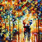 Under one Umbrella- Oil painting on Canvas By Leonid Afremov by Leonid  Afremov