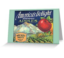 America Delight Washington Apple Crate Label Greeting Card