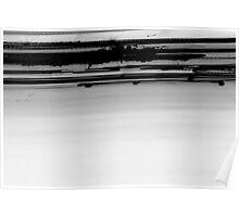 inverted Iight Painting of  Car Lights At The Speed of Light black and white Poster