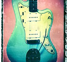 Fender Jazzmaster Jaguar guitar art print blue music wall decor by guitarartprint