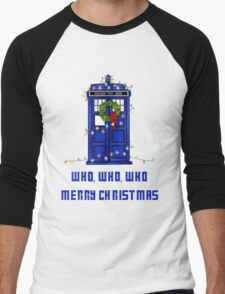 Who, Who, Who, Merry Christmas  Men's Baseball ¾ T-Shirt