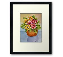 Polyanthus watercolour painting Framed Print