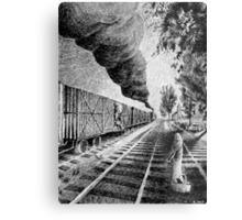 Fingerprint - Train - Black ink Metal Print
