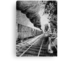 Fingerprint - Train - Black ink Canvas Print