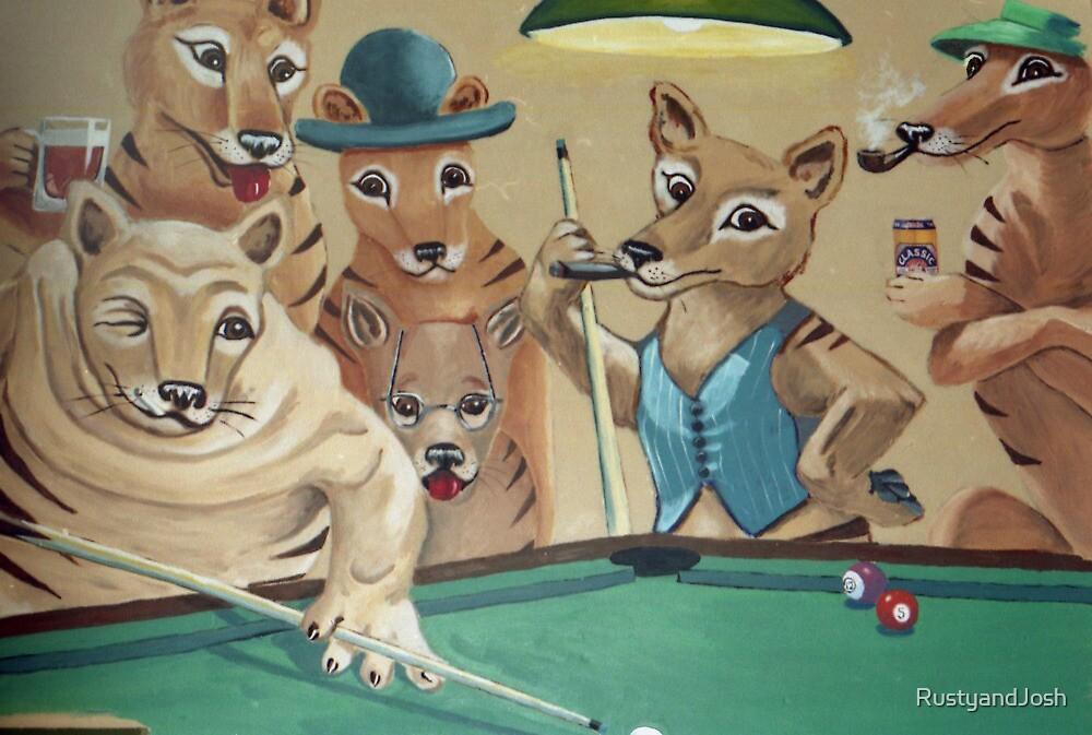 Thylacines Playing Pool (after Arthur Sarnoff) by RustyandJosh