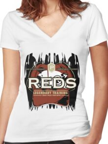 Red's Pokemon Training Women's Fitted V-Neck T-Shirt