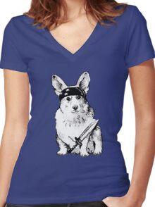 BAD dog – corgi carrying a knife Women's Fitted V-Neck T-Shirt