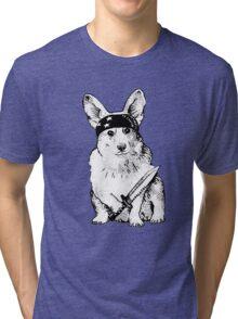 BAD dog – corgi carrying a knife Tri-blend T-Shirt