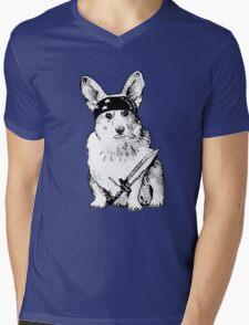 BAD dog – corgi carrying a knife Mens V-Neck T-Shirt