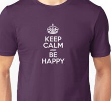Keep Calm and Be Happy - Pink Polka Dots  Unisex T-Shirt