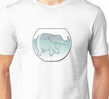 Elephant Swimming around in Goldfish Bowl Unisex T-Shirt